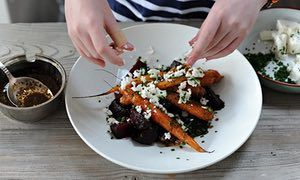 Back to basics: warm beetroot, carrot and feta salad with orange and carawy dressing