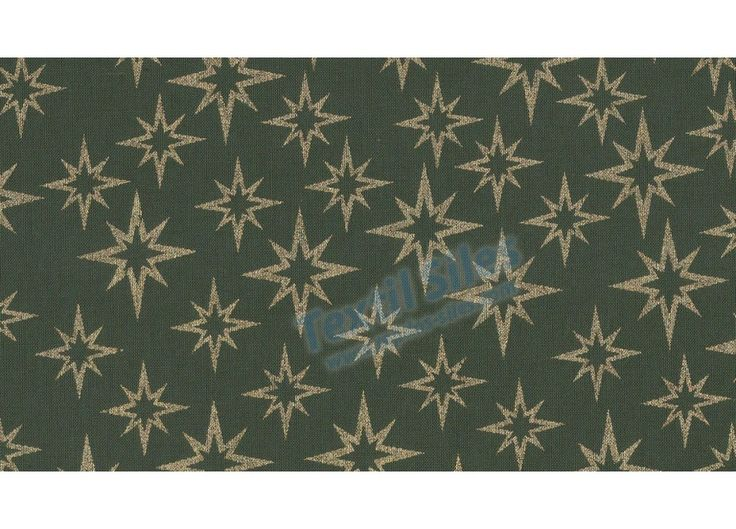 Patchwork Navidad Estrellas Doradas fondo verde