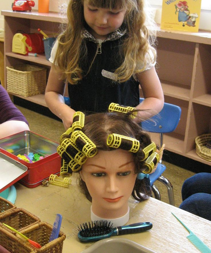 Hair Salon Dramatic Play...maybe Kippers could get me one of these heads??? rollers, brush, combs, empty shampoo/conditioner bottles, spray bottles...Kate and Alex enjoyed hair salon...only they did my hair...can we say frizz???