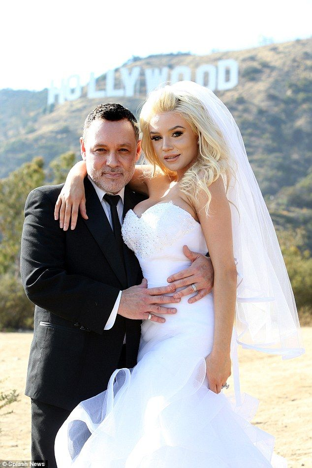 'My sweet & amazing hubby!' Pregnant Courtney Stodden, 21, renewed her vows with husband Doug Hutchison, 55 in Los Angeles at the weekend