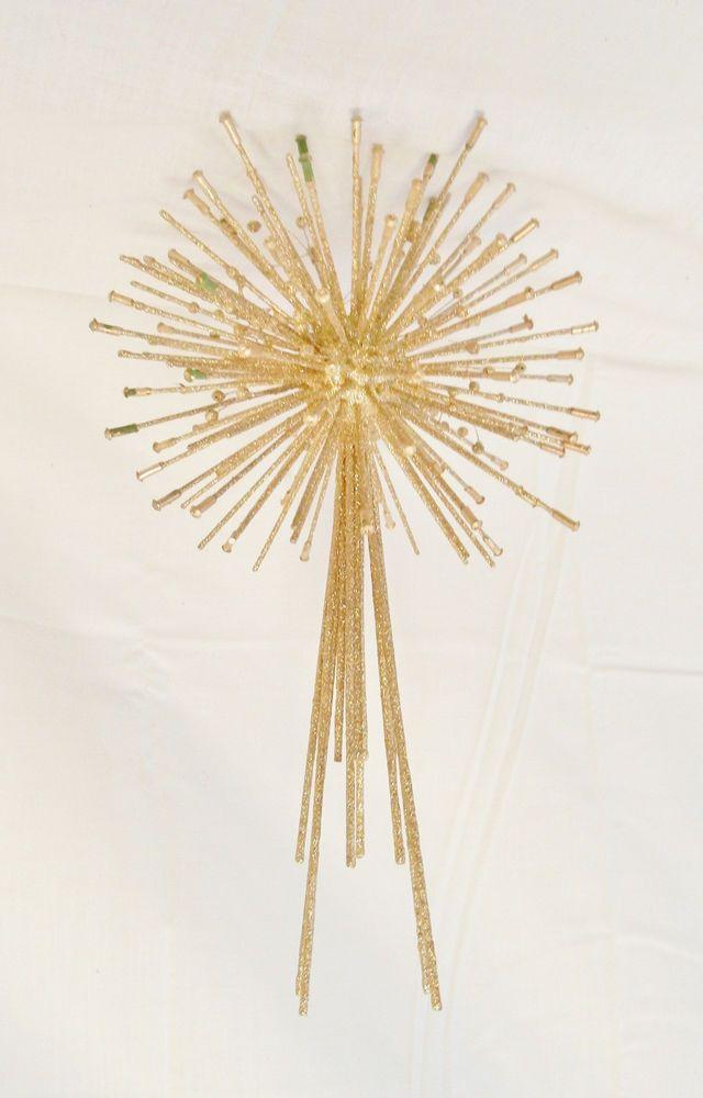 Vtg Mid Century Modern Christmas Tree Topper Star Atomic Sputnik Era