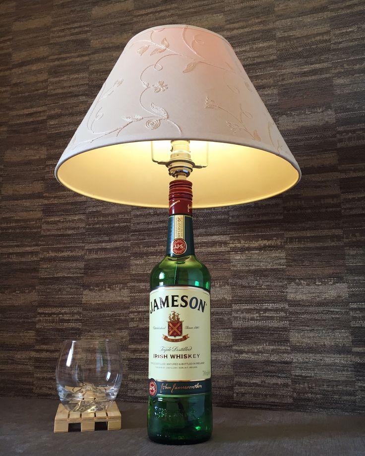 https://www.etsy.com/uk/listing/529455421/jameson-irish-whiskey-bottle-lamp-with?ref=shop_home_active_1 #jameson #whisky #lamp #bottlelamp #bottle #upcycle #boho #steampunk #lighting #bar #home #decor #whisky #whiskey