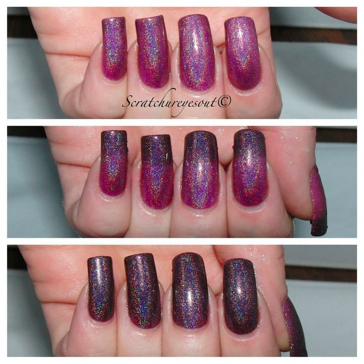 Are You A Good Witch is a Holo thermal changer that when cold, it's a blackish purple, and when warm/hot, it's a hot pink! First and Second swatch is by MJ from, http://www.flickr.com/photos/scratchureyesout/with/9676332732/ !Third and Fourth swatch is two coats. All items are handmade, therefore individual variations can occur between batches. Color may vary due to the monitor that your are using to view the product.Variations in application technique and thickn...
