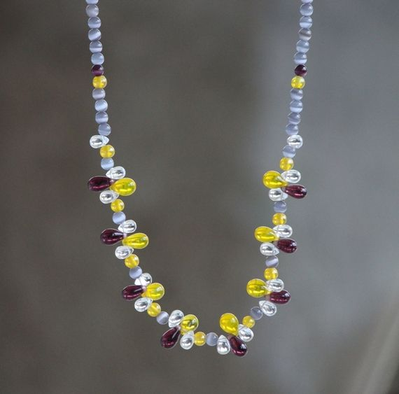 Yellow, purple and grey glass necklace. https://www.facebook.com/heartbeadsjewellery