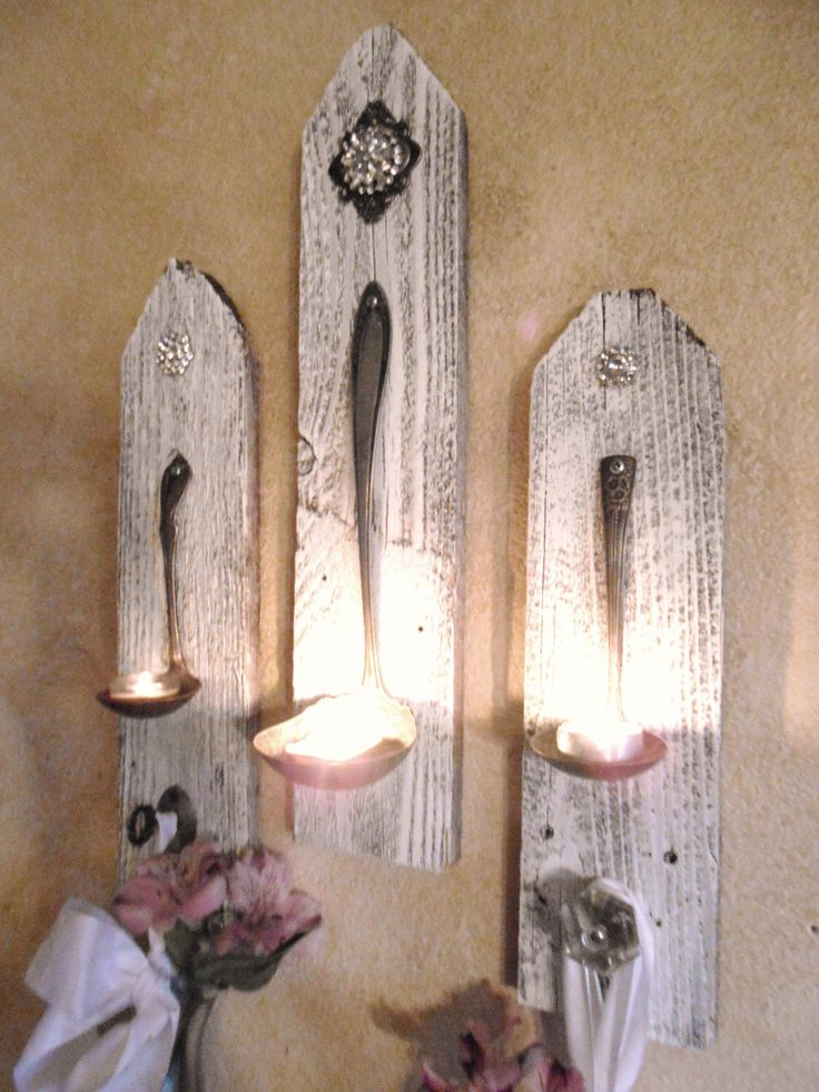 Wall Sconce Hanging Hardware : 3 Shabby Chic Hanging Candle Holders ,Silver Plate Ladle wall sconces ,Rhinestones, Vintage ...