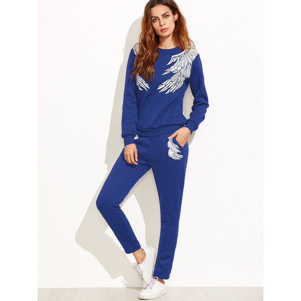 SheIn(sheinside) Angel Wings Print Tracksuit ($19) ❤ liked on Polyvore featuring activewear, blue, white track suit, white two piece, white tracksuit and track suits