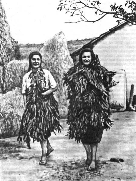 Додолы. Девушки, одетые в ветви зелени, исполняющие священый танец дождя.Из кн. Б.А. Рыбакова -Язычество древних славян-.