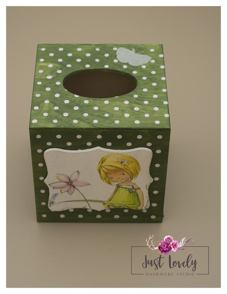 Tissue box with girl and silver butterfly, green with pink dots by JustLovelyHandmade on Etsy