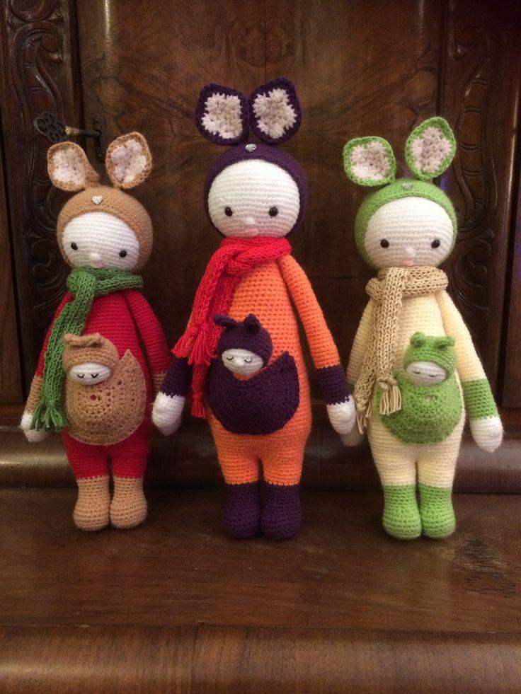 kangaroo family made by Ewa S. / crochet pattern by lalylala