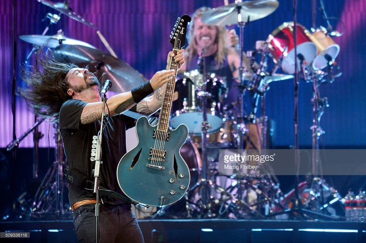 Dave Grohl of Foo Fighters performs on stage at the Docklands Stadium on Saturday the 28th of February 2015 in Melbourne, Australia.