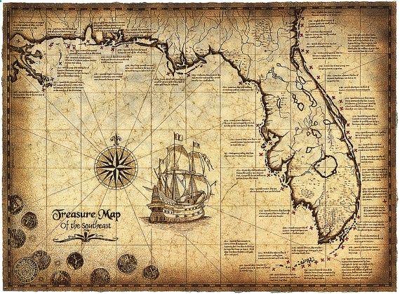 Carte de l'édition limitée du sud-est, 16 x 22 carte au Trésor, naufrages, carte du naufrage, golfe du Mexique, vieilles cartes de Trésor, Trésor de pièces de monnaie