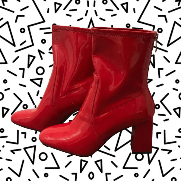 Red Patent Leather Boots + 80's Geometric Print