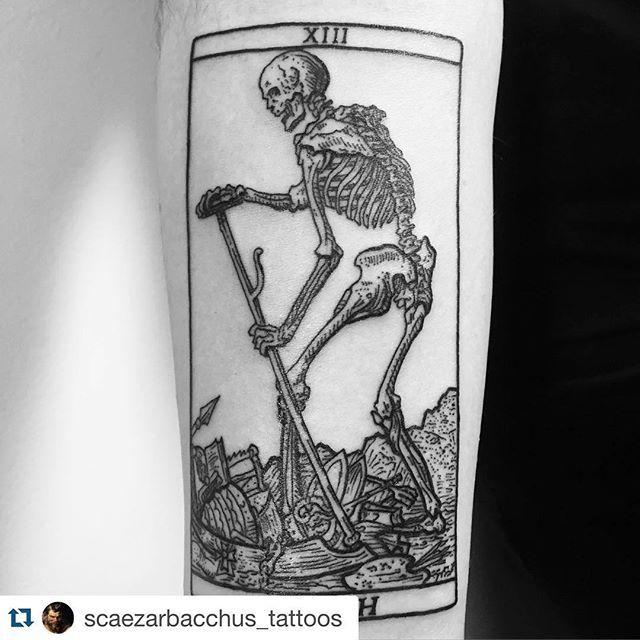 Tarot card tattoo #Repost @scaezarbacchus_tattoos . ・・・ DEATH. #tarotcardtattoos #deathtattoo #deathtarotcardtattoo #blackwork #darkwork #darkworkers #blackworkers #blackworkerssubmission #blxckink #linework #lineart #woodcuttattoos #engravingtattoos #deathisjustthebeginning #gracelandbrooklyn #eastsideinknyc