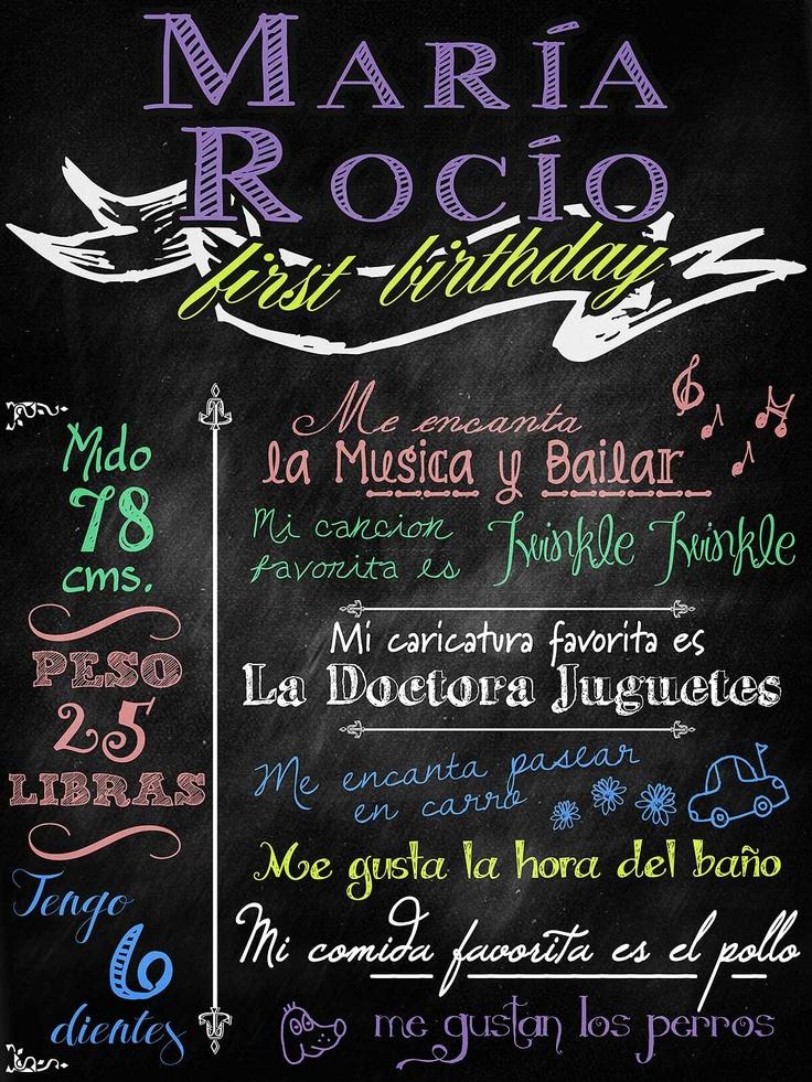 """""""Chalkboard style"""" board poster Te diseñamos el poster de bienvenida para que celebres de manera super especial tu fiesta de primer Cumpleaños, baby Shower, despedida de Soltera o para colocar en la entrada de tu fiesta de BODA y 15 años para que lo firmen tus invitados :) #Guatemala"""