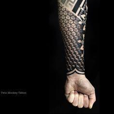 #twinmonkeytattoo #tattoo #art #black #grey #geometric #cubes