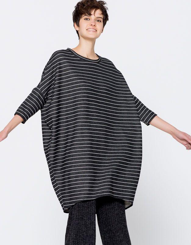 Pull&Bear - mujer - ropa - vestidos - vestido cocoon rayas - negro - 09394363-I2016
