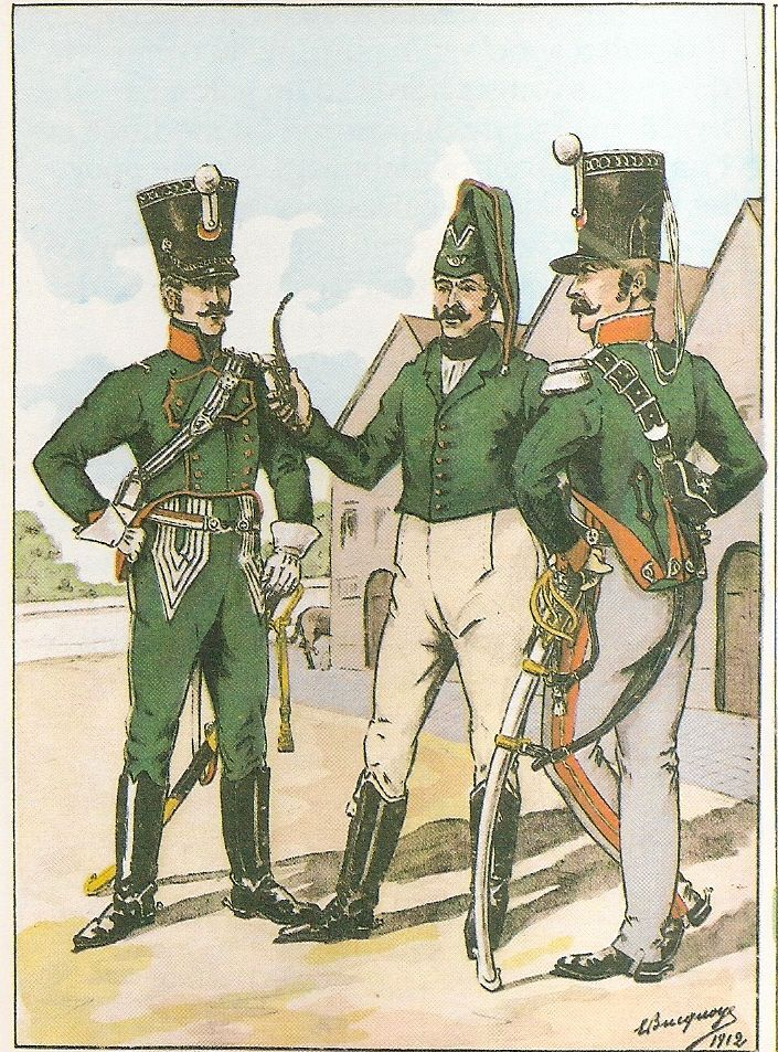 French; 1st Chasseurs a Cheval, Officers, 1814