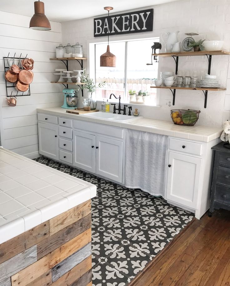 Best Black And White Tile Copper Pans Cottage Kitchen White 400 x 300