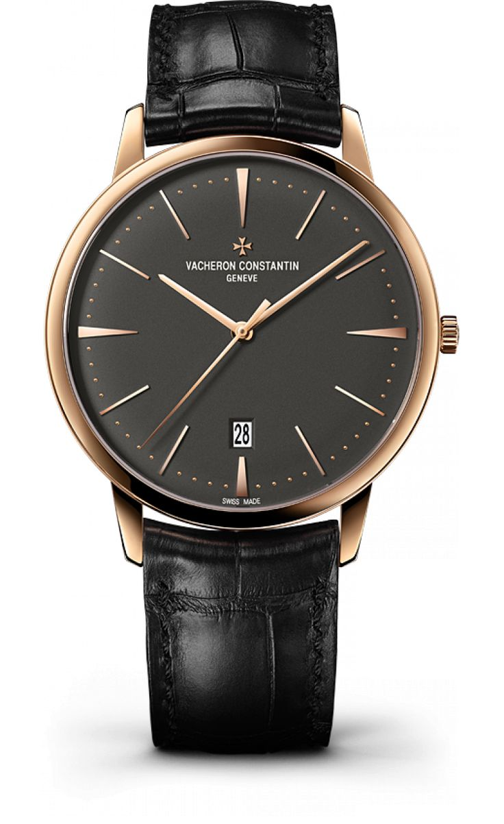 Vacheron Constantin 85180/000R-9166 Patrimony Self-Winding Date 2014 - швейцарские мужские наручные часы - золотые, черные
