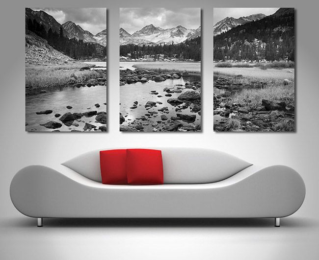Mountain Stream Triptych Art Split Canvas 3 Panel Wall Art Triptych Wall Art Canvas Wall Art