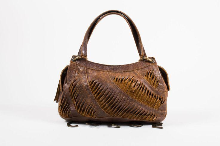 Chloe Brown Slit Leather Hammered Charm Hobo Shoulder Bag