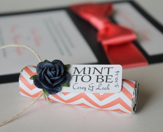 """Set of 24 Mint Wedding Favors with Personalized """"Mint to be"""" tag - navy and coral, coral wedding, chevron, navy and coral favors, mint candy on Etsy, $43.20"""