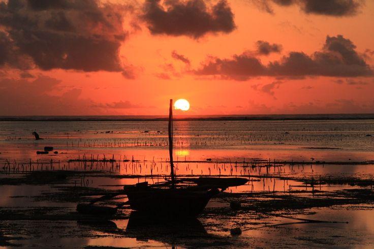 Sunrise on the beach at Matemwe.