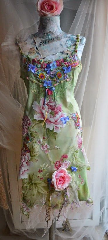 Bohemian shabby dress art to wear altered couture by irinacarmen