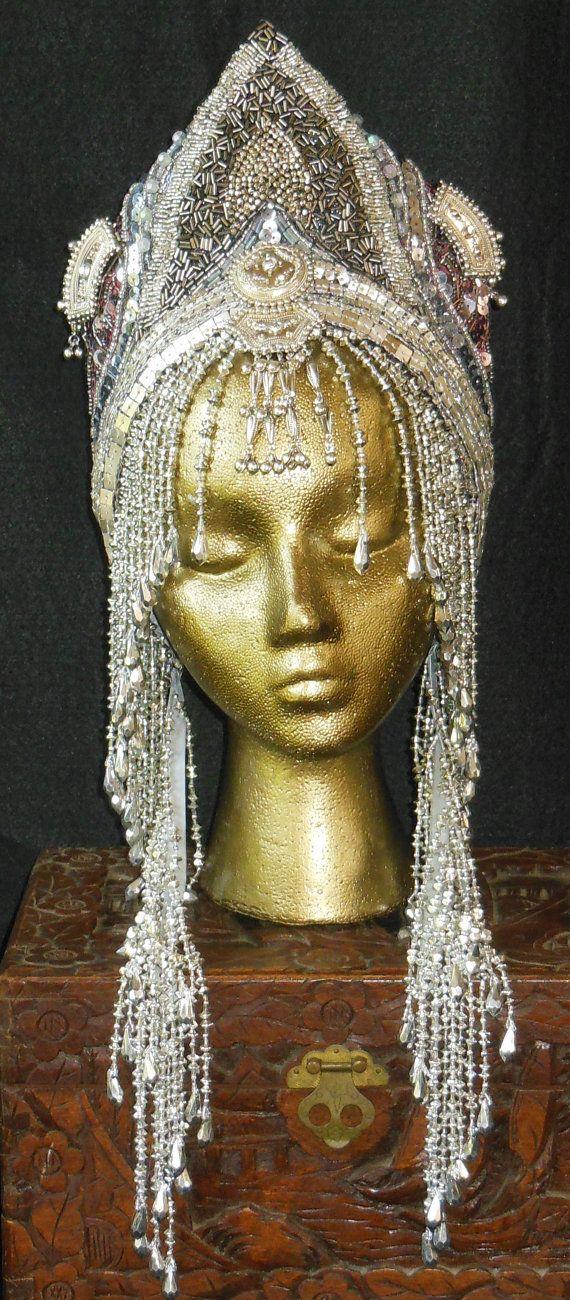 Silver goddess Fantasy Queen Cleopatra Ice Princess Belly Dance Eygption Labyrnth headpiece headdress crown