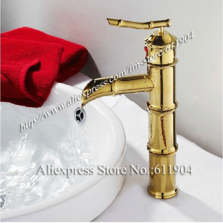 """Bamboo Design Single Handle Brass Polished 11 3/5"""" Bathroom Vessel Sink Faucet Mixer Taps 2240093-in Basin Faucets from Home Improvement on Aliexpress.com $36.80"""