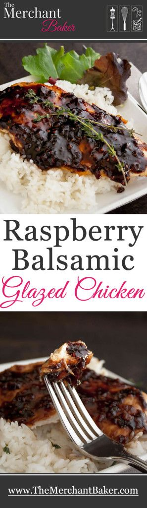 Raspberry Balsamic Glazed Chicken. A light and healthy meal made in one pan and done in less than 30 minutes!
