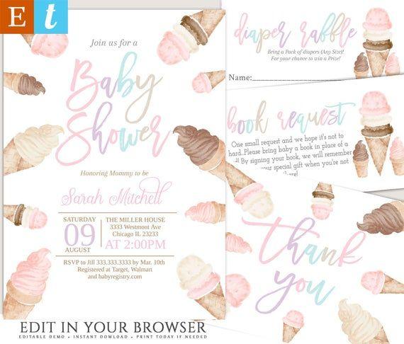 Einladung zur Babyparty mit Eiscreme, Einladung zur Babyparty mit Mädchen, Einladung zur Babyparty mit Eiscreme …   – Products