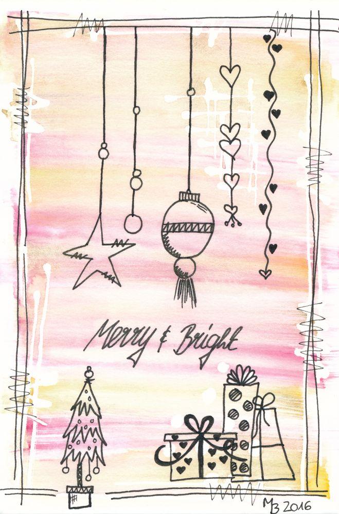 Weihnachtskarten selber machen – Schriftzug & Aquarell   – MrsBerry Studio – Aquarell | Watercolor