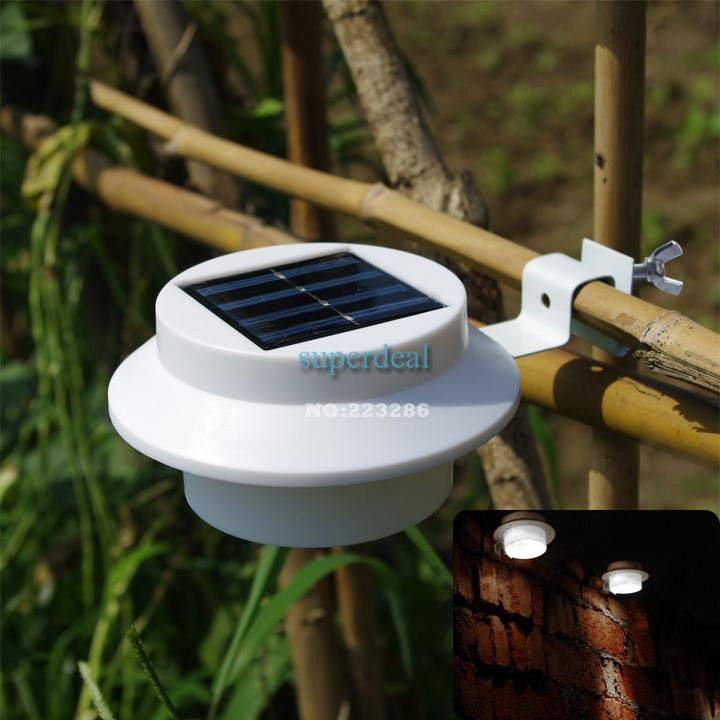 5pcslot hot outdoor solar powered 3 led wall light fence gutter garden yard roof