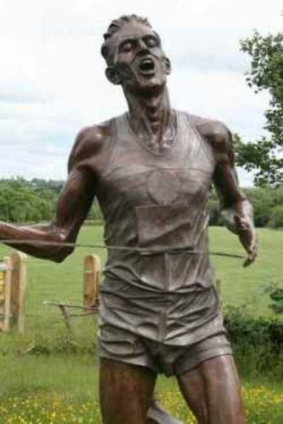 #Bronze #sculpture by #sculptor Carl Payne titled: 'Sir Roger Bannister (life size Commemorative Athlete statue)'. #CarlPayne