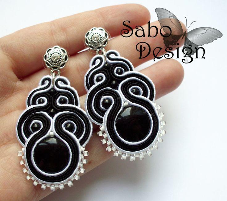 MAKALU -  soutache earrings, handmade, embroidered in white and black satin strips, TOHO beads, oaak.. $49.00, via Etsy.