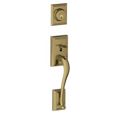 Schlage Addison F Series Dummy Handleset, Exterior Handle Only Finish: Antique Brass