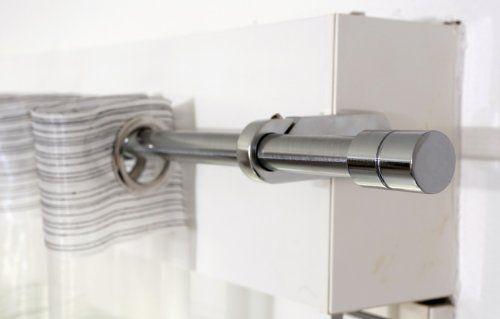 Tringle à rideaux Kit complet chrome pose sans perçage sur caisson de volet roulant emb cylindre ext 100x180cm