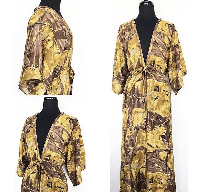 A personal favorite from my Etsy shop https://www.etsy.com/ca/listing/599927803/kimono-dress-in-gold-and-brown-print