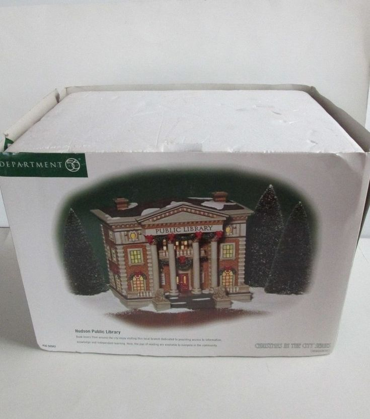 """Dept 56 Christmas In The City Lighted 58942 """"Hudson Public Library""""  2002 GCIB"""