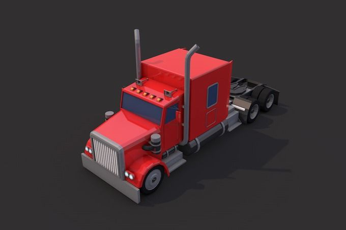 Low Poly American Heavy Truck by CreativeeArt on @creativemarket
