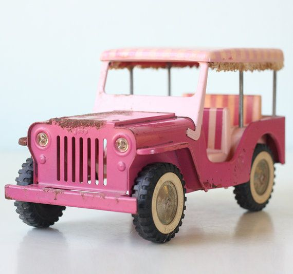 Vintage Pink Jeep Tonka Pink Stripes Covered Toy Jeep by bellalulu