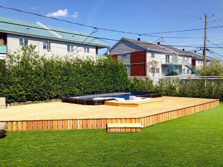 Terrasse et piscine semi-creusée