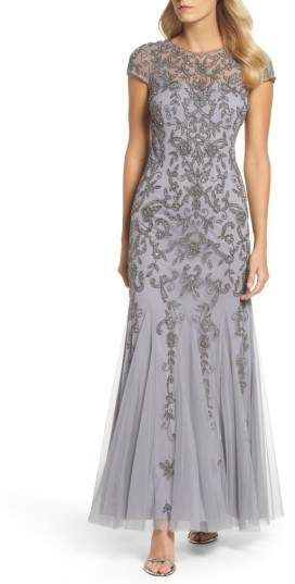 Adrianna Papell Beaded Godet Trumpet Gown   #eveninggowns#ad#dresses