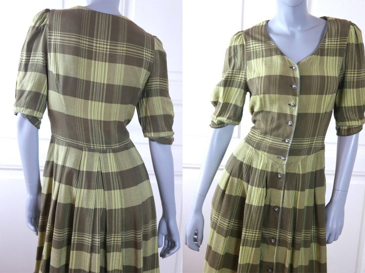 German Vintage Trachten Dress, Green Gray Plaid w Bowler Hat Pewter Buttons Bavarian Prairie Dress: Size 10 US, Size 14 UK by YouLookAmazing on Etsy