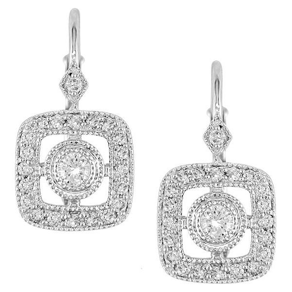 14k White Gold /2ct Diamond Dangle Earrings Women's