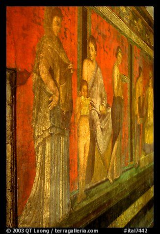 Villa of Mysteries has one of the largest frescoes remaining from the Ancient world. Pompeii, Campania, Italy (color)