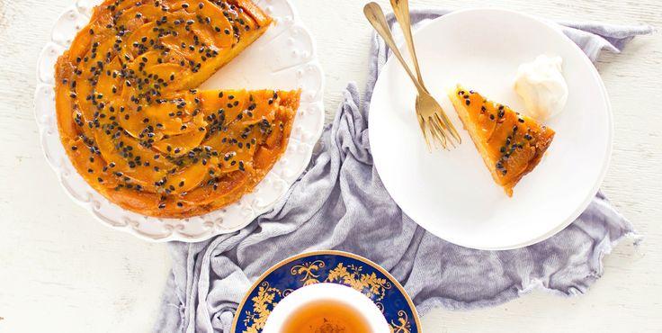 The Kiwi Cook   Upside Down Peach and Passionfruit Cake   http://thekiwicook.com