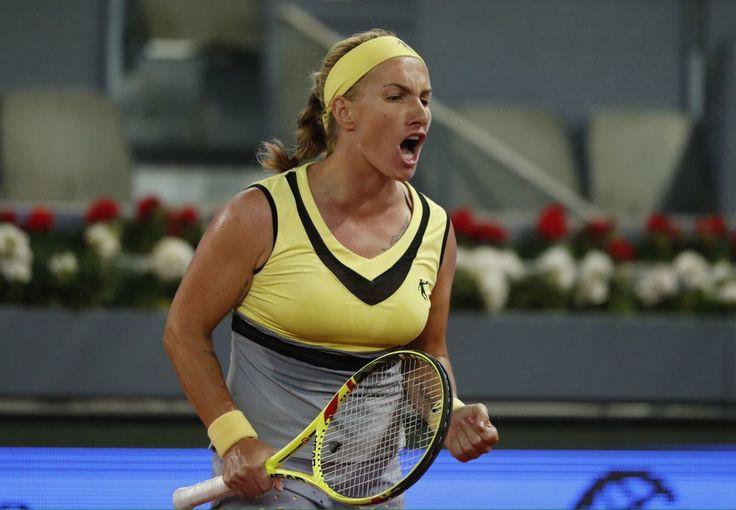 WTA Madrid: Russia's No.1 Sveta Kuznetsova blitzes Eugenie Bouchard 6-4, 6-0 to advance to SFs in Madrid. Genie appeared to run out of steam after 3 dramatic wins over World No.2 Angie Kerber, Maria Sharapova returning from a 15 month doping ban, & French No.3 Alize Cornet.  http://www.oktennis.it/2017/05/wta-madrid-bouchard-halep-kuznetsova/ ...