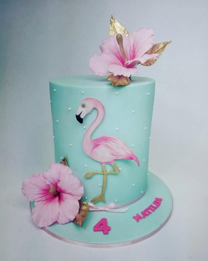 Double barrel birthday cake with hand painted flamingo and sugar flower hibiscus . Love it!